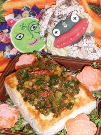 豆腐ステーキのニラ豆板醤ソース&キュウリとツナのキムチサラダ(お家カフェ)
