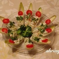 アボカドとえびのチコリボートサラダ♡とお花