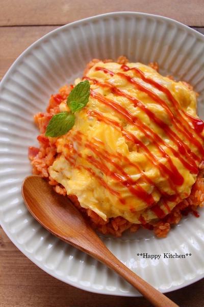 レンジで作るケチャップライスとトロトロ卵でオムライス風*がんばれ中学生!
