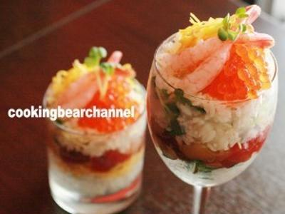 オシャレにグラスに盛り付け♪パーティーにもピッタリな海鮮ちらし寿司の作り方(動画)