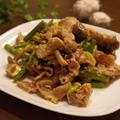 豚肉とにんにくの芽の七味マヨ炒め