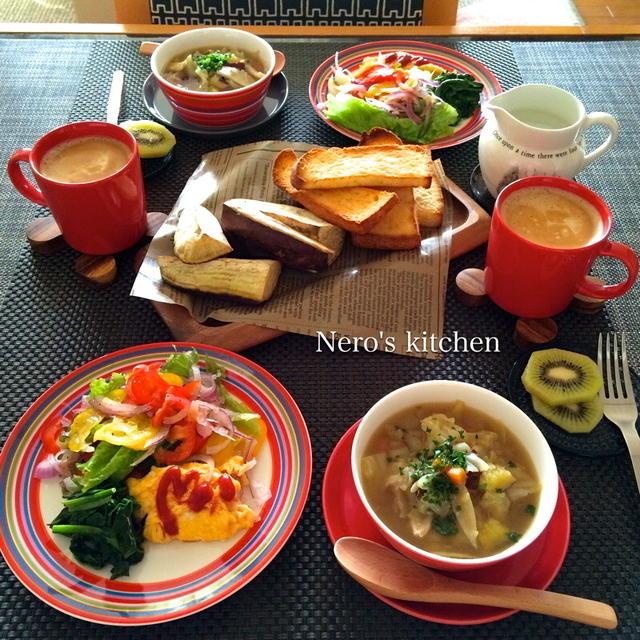 根菜たっぷりスープと焼き芋など♪オリゴレッドで日曜ブランチ
