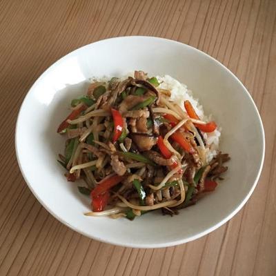 肉野菜炒めかけご飯