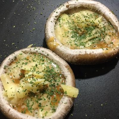 大きな椎茸の味噌マヨネーズ焼ピザ風☆