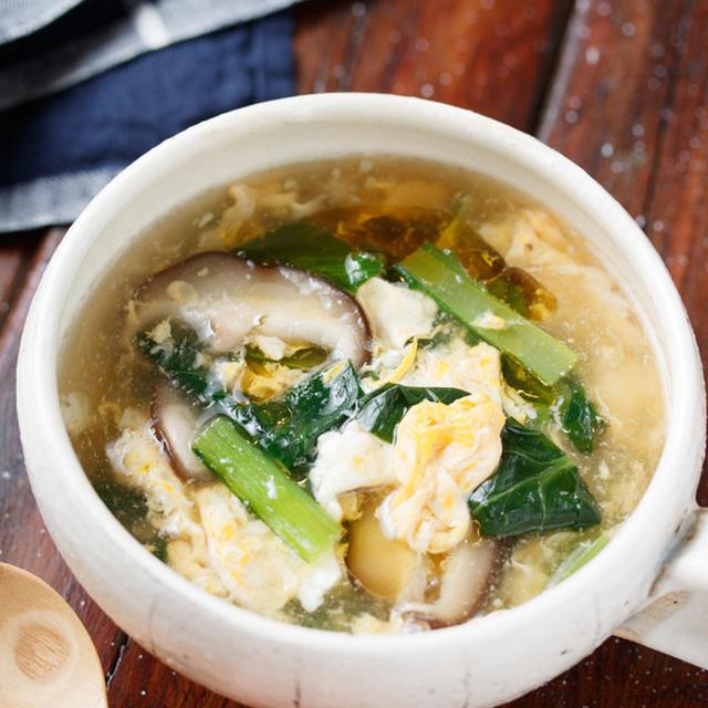 ふんわり卵と小松菜のとろみ中華スープ【#簡単 #節約 #時短 #スープ】