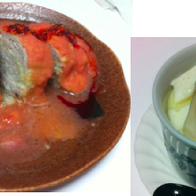 白菜と豚肉重ね蒸し、はんぺん茶碗蒸し、明太チーズじゃが焼き