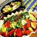 💖男心をつかむ料理💖                      【サーモンのコールスロー】           ・鎌倉野菜リーキねぎとエリンギ、蓮根、鶏胸肉のアヒージョ
