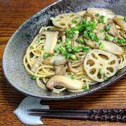 きのこと根菜の和風ジンジャーパスタ