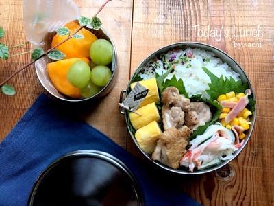 息子の✳︎鶏もも肉のレモンバター醤油焼き弁当♡