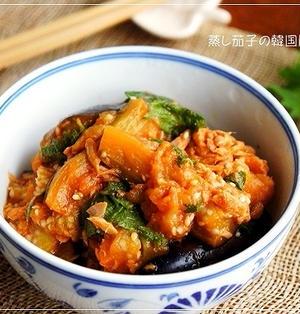 ポン酢で簡単♪ 蒸し茄子の韓国風ナムル