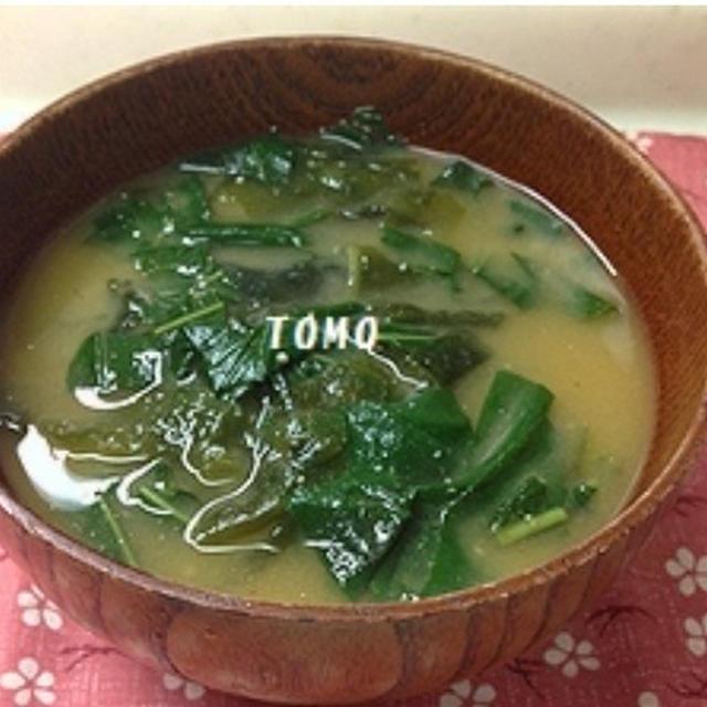 簡単料理♪「すいおうの葉とワカメのお味噌汁」と「すいおうの茎の甘辛炒め」
