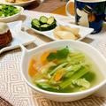 【5分で完成】小松菜と人参とキャベツの中華スープ