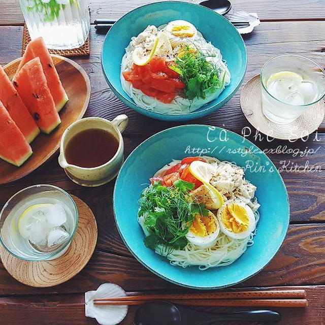 朝ごはん☆完熟トマトとささみのアジアンそうめん