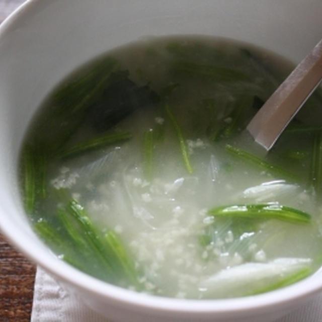 ひえとほうれん草のとろ〜りスープ