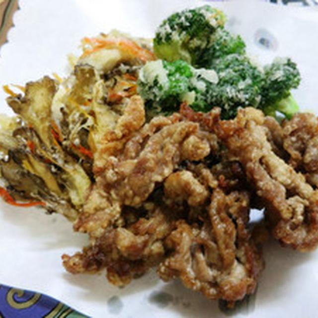舞茸、ブロッコリー、と豚肉のかき揚げ