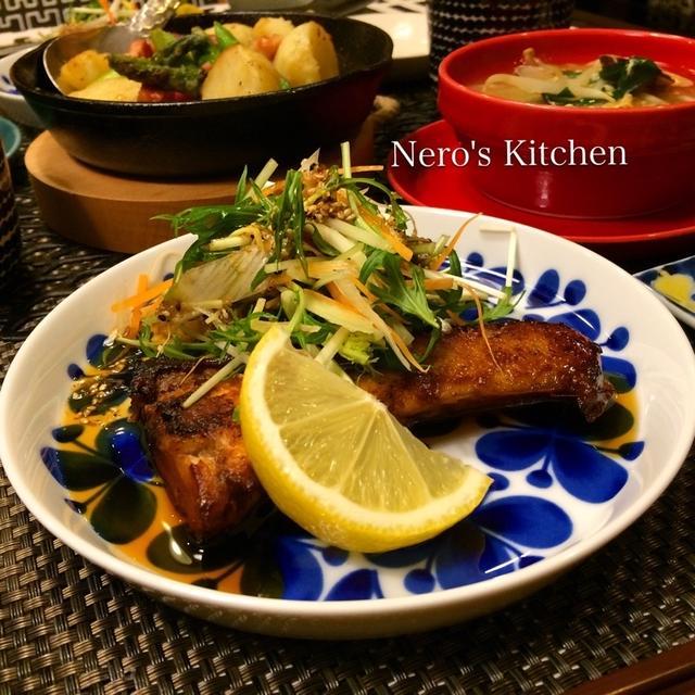 野菜たっぷりスペアぶり・アサリとニラもやしの卵スープ・アスパラと新じゃがのグリル♪