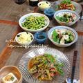 ◆ゴーヤのヘルシーチャプチェに枝豆のペペロン~ゆるやか糖質制限♪