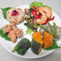 魚介と野菜の煮物と海老の中華!☆ 鱈子の煮つけ+海老と野菜の中華炒め+南瓜・蓮根・隠元の煮物