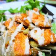 焼き鮭とベビーリーフたっぷりサラダ♪