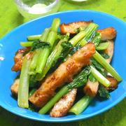 練り物と野菜で簡単おつまみ〜さつま揚げと小松菜の生姜炒めとおつまみ3種。