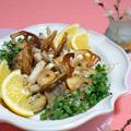 お節の余り食材で、鮭と里芋の香草焼き