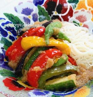 たっぷり夏野菜の揚げ浸し みぞれ冷やし素麺