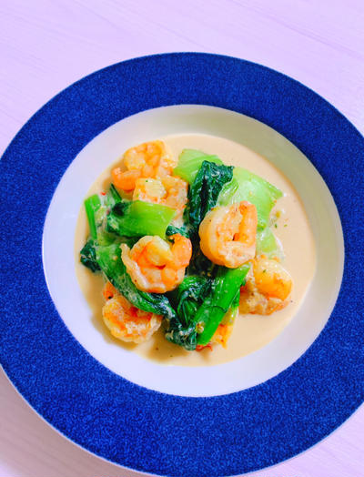 低糖質&低脂質!チンゲン菜と海老のクリーム煮