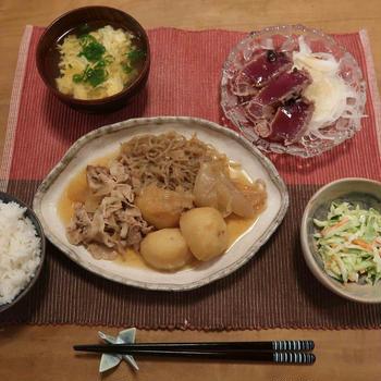 """豚しゃぶ肉で""""肉じゃが""""の「ザ・和食」の晩ご飯と 擬宝珠(ギボウシ)の花♪"""