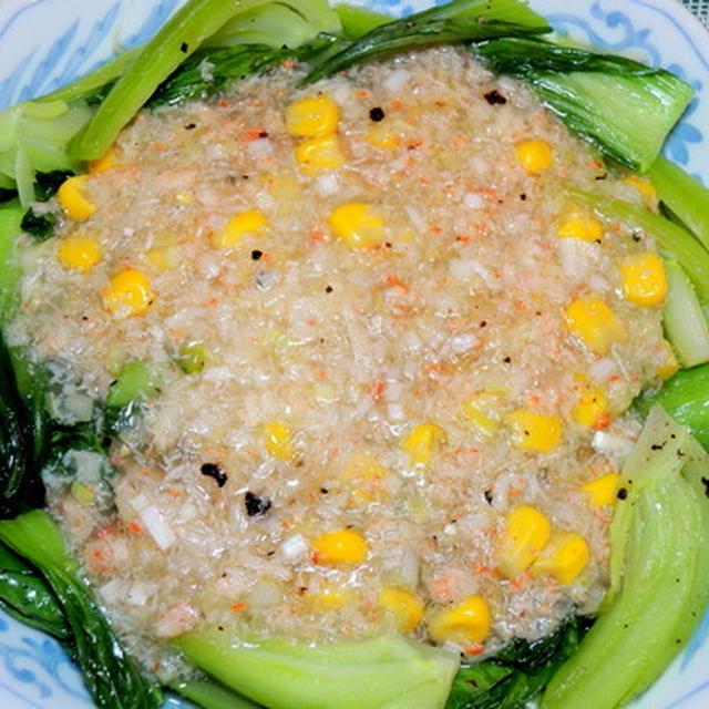 簡単な料理を集めた、な~んちゃて中華☆一番簡単な、青梗菜のカニ餡かけ