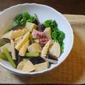 高野豆腐と春野菜の炊き合わせ