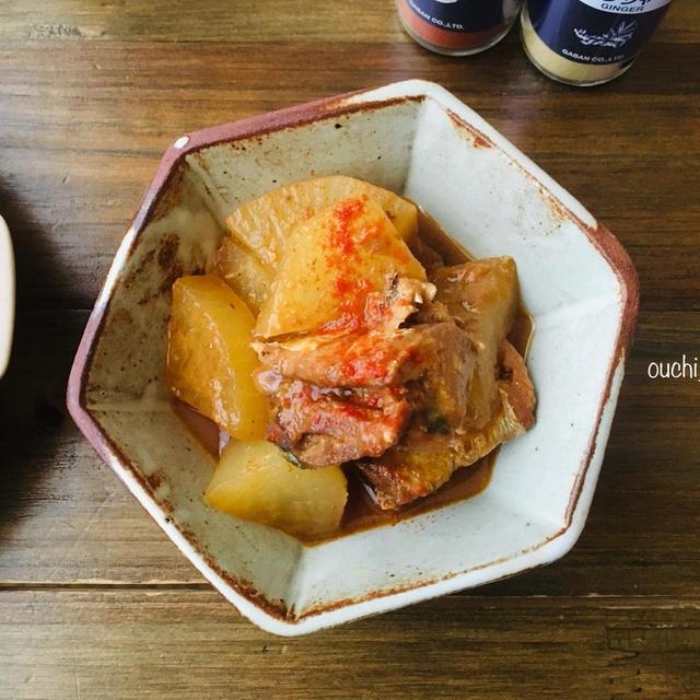 鯖缶で煮込み7分!ピリ辛がクセになる♡スパイシー鯖大根。