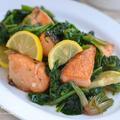 魚料理もフライパンひとつで簡単♪ 彩りキレイな鮭とほうれん草のはちみつレモンソテー