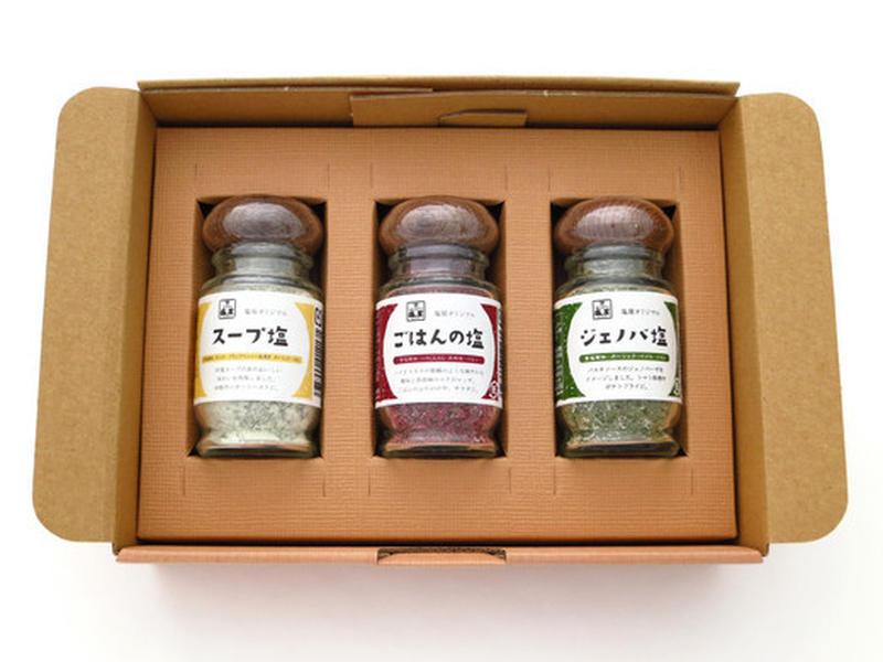 """日本最大級の塩専門店がお届けるする、「合わせ塩」の厳選セット。それぞれ、ふりかけにもなる""""ごはんの塩..."""