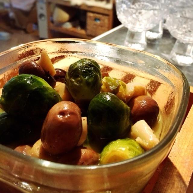 ☆しゅわしゅわに合う♡芽キャベツとマッシュルームのオリーブオイル煮☆