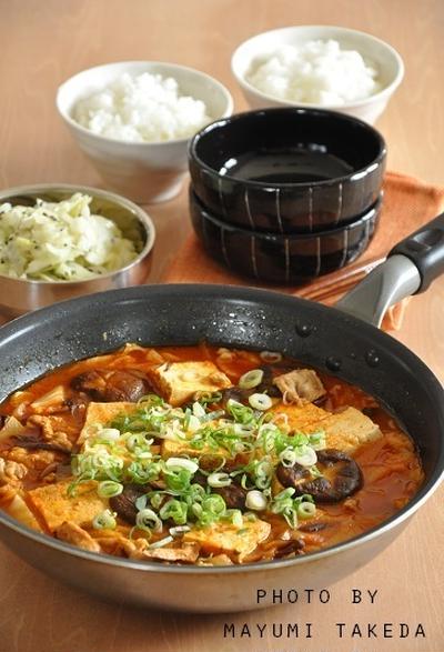 【1週間節約献立】フライパン一つで超早レスキューおかず☆スンドゥブ風豆腐煮のお献立
