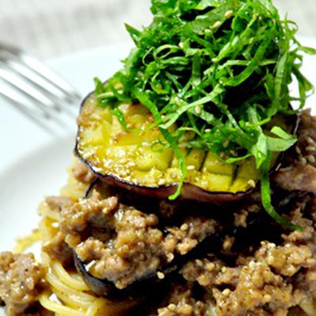 賀茂茄子と肉味噌のパスタ