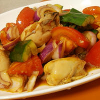 牡蠣で生姜醤油のおつまみサラダ