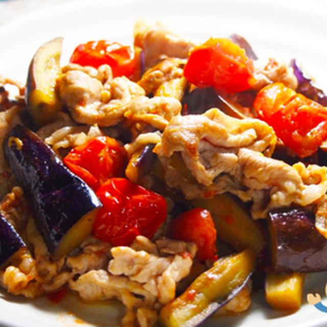 豚肉とナスとプチトマト炒め