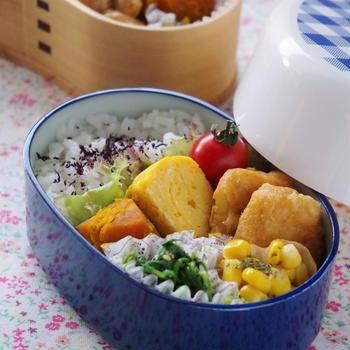 高校生のお弁当(チキンナゲット、麻婆豆腐、ドライカレー、ハンバーグ、ぶりの幽庵焼き)
