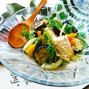 焼き夏野菜と鳥むね肉のレモンマリネ