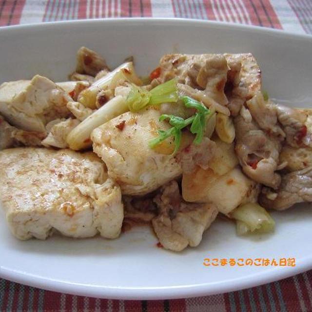 ざっくり豆腐と長ネギのピリ辛炒め