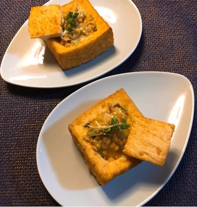7. キュートな箱型!キャベツと納豆の厚揚げレシピ