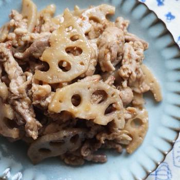 れんこんとこま切れ肉の旨甘辛味噌和え-豚肉✻牛肉✻簡単✻常備菜✻お弁当