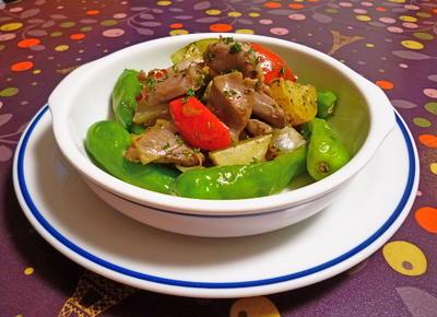 砂肝と野菜のソテー
