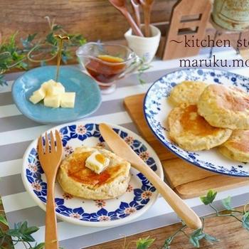 HMで簡単!ふわふわ~メレンゲバナナパンケーキ(メープルバター♪)