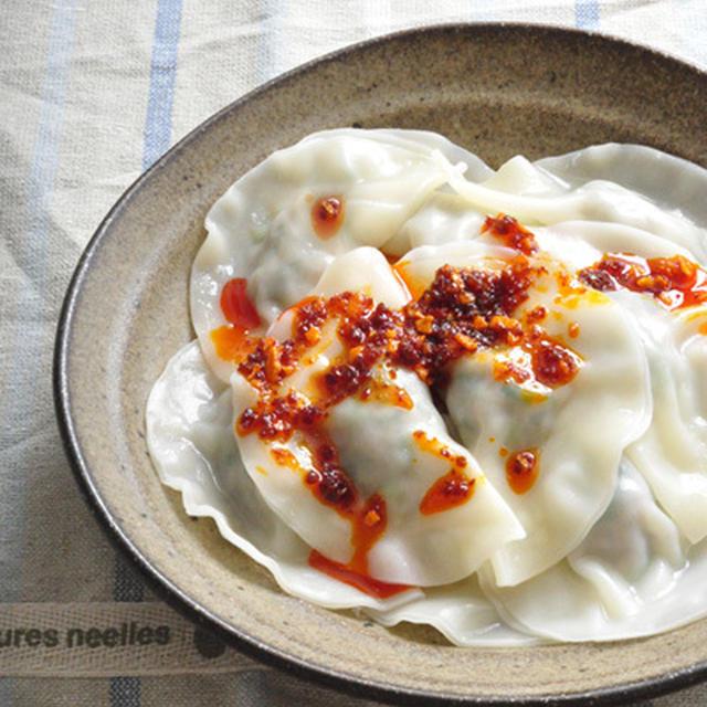 夏の水餃子 - 食べるラー油のせ