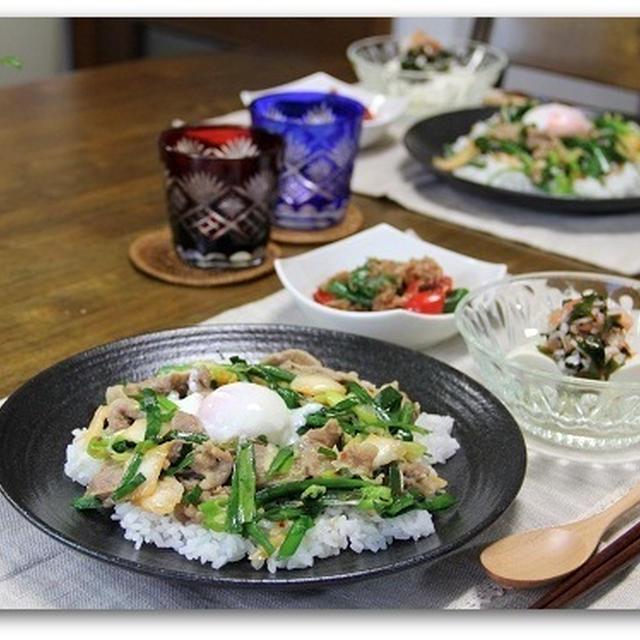 ニラ豚キムチ丼&焼きピーマンのおかかあえ 行ってきます^^