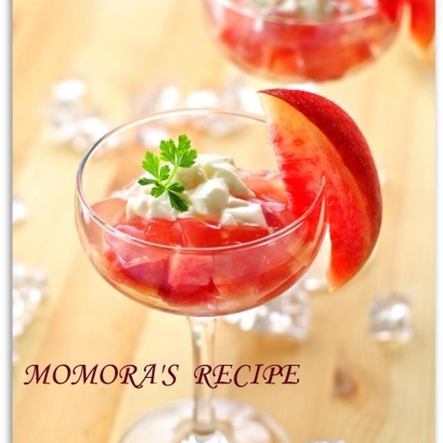 夏休みに♡レンジで簡単お菓子いちどに2品♪桃のクラッシュゼリーとコンポート&掲載・貴船の川床