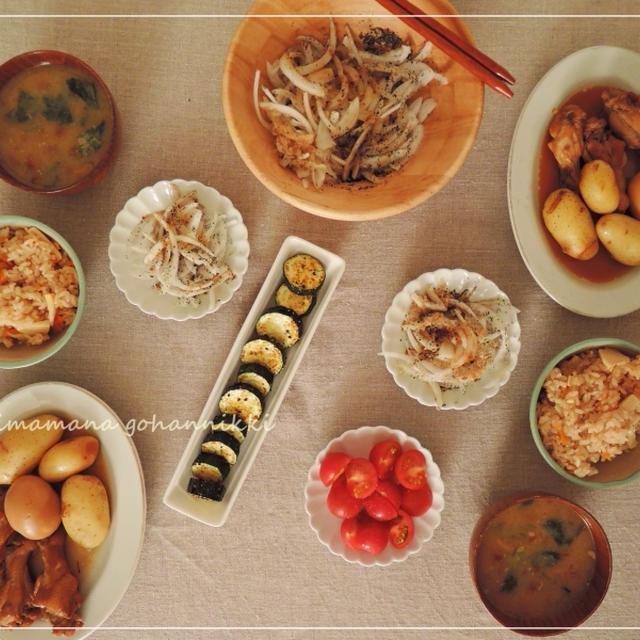 手羽元とジャガイモの煮物と筍ごはん。