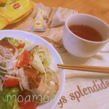 簡単♪朝食デリサラダ☆withリプトン紅茶(^-^)